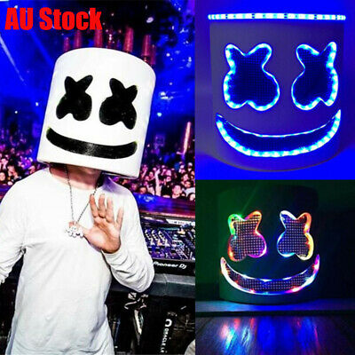 DJ Marshmello Mask Cosplay Props Costume Head Helmet Electric Bar Music Party AU