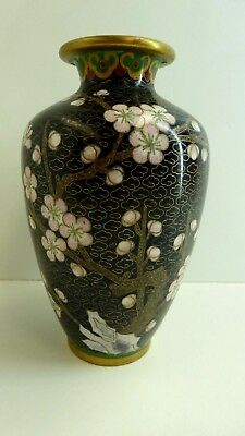 Antique Oriental Cloissone Black Enamel Vase Cherry Blossom Tree