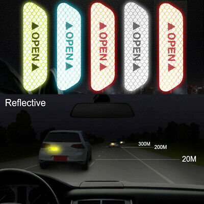 4PCS Super Car Door Open Sticker Reflective Tape Safety Warning Decal Universal