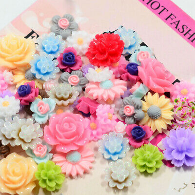 50pcs Resin Beads Rose Flower Flat Back Buttons Cabochons Scrapbooking Craft
