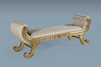 Large Statement Gold leaf French Window Seat Stool Bench Chaise Longue Lounge