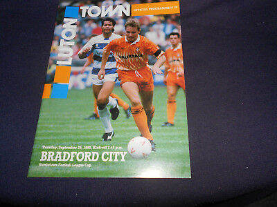 LUTON TOWN v BRADFORD CITY PROGRAMME 25TH SEPTEMBER,1990 RUMBELOWS CUP ROUND 2