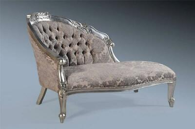 Antique Silver Leaf Grey French Loveseat Sofa Chaise Longue Lounge Daybed