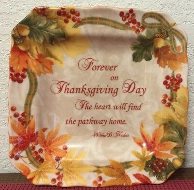 Porcelain 222 Fifth AUTUMN CELEBRATION Forever Square Salad Plate ~ Indonesia 8""
