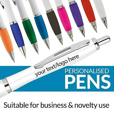 Personalised Pen Novelty Office Stationary Curvy Contour Colour Pens Promotional