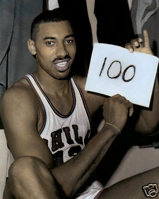 """WILT CHAMBERLAIN BASKETBALL LEGEND MARCH 1962 8x10"""" HAND COLOR TINTED PHOTOGRAPH"""