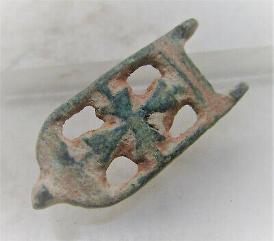Rare Ancient Byzantine Bronze Crusaders Plate Type Brooch Cross Motif
