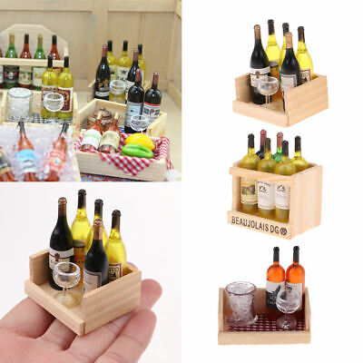 3 Sets Miniature Wine Bottles With Magnet Wooden Box 1/12 Dollhouse Decor