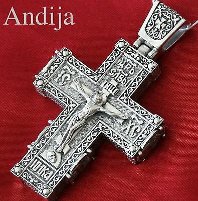 RARE BIG HEAVY MENS RUSSIAN ORTHODOX BODY ICON CROSS SILVER 925 SAINTS. 32g NEW