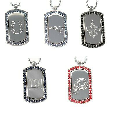 crystal dog tag necklace charm pendant NFL PICK YOUR TEAM