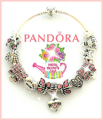 Authentic PANDORA Bracelet 925 Bangle with Mom Mother Day Love European Charms