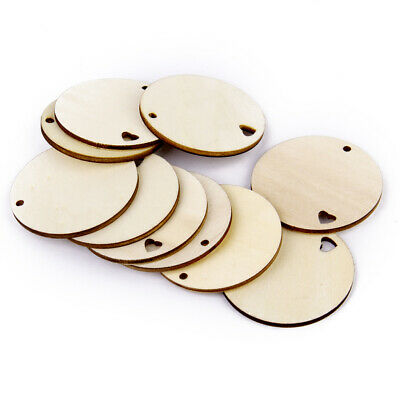 10Pcs Unfinished Blank Wood Round Disc w/ Heart Cut out Craft Embellishment