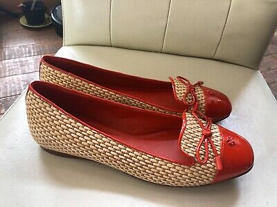 fe2a2c4462e Tory Burch Orange Patent Leather Straw Woven Ballet Flats Shoes 6.5  Ballerina