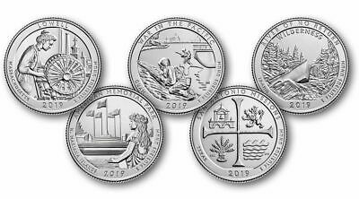 2019-S Clad Proof National Parks ATB 5 coin set, including COA but NO BOX