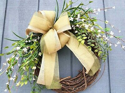 Handmade Rustic Mixed Greenery Floral Grapevine Wreath Spring Summer