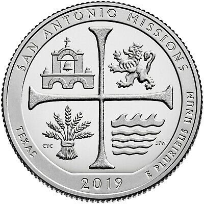 2019- S Clad Proof San Antonio Missions Quarter (Tx) **in Hand Ready To Ship**