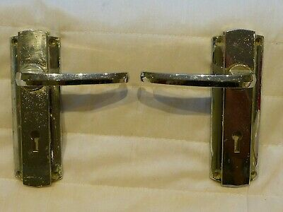 """Antique Art Deco Chrome Lever Door Handles key Hole Early """"Yale"""" Sprung Loaded"""