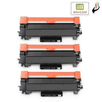 3 TN760 Toner Cartridge w/ Chip for Brother TN730 DCP-L2550DW HL-L2350DW L2370DW