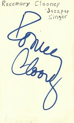 Rosemary Clooney Singer Jazz Pop Music Autographed Signed Index Card