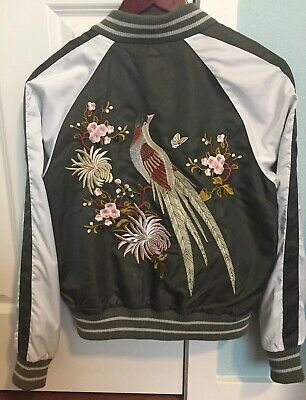 852d0040c Juniors Nordstrom BP Glorious Embroidered Satin Varsity Bomber Jacket Small