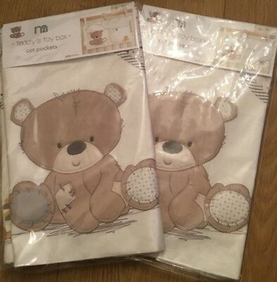 2 Packs Of Mothercare teddy's toy box Cot Pockets ** BNIP **