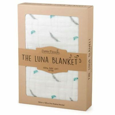Petite Piccolo Super-Soft Muslin Luna Baby Blanket, Floating Feather - 120x120cm