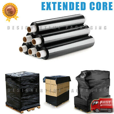 12 x 200m Extended Core Black Pallet Stretch Shrink Wrap Rolls Parcel Packing