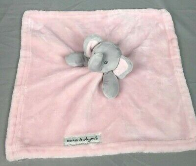 Blankets and Beyond Gray Pink Elephant Lovey Security Blanket Baby Fleece  Plush 88533202d