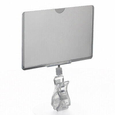 Rotating Clip On POP Swivel Sign Holding Clamp with Card Protector, Wholesale