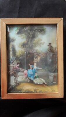 Antique Portrait Wooden Frame Victorian Ladies Handpainted In Celluloid