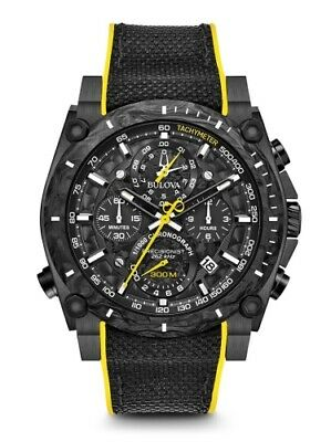 New Bulova Precisionist Chrono 98B312 Black Ip Stainless Steel And Carbon Case