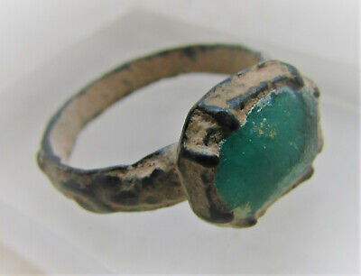 Ancient Byzantine Bronze Ring With Green Stone Insert 600-1000Ad Wearable