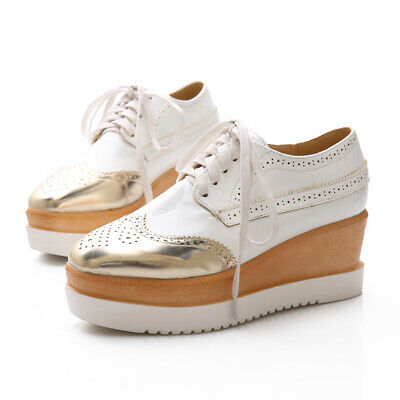 Girls Leather Carved Lace Up Platform Brogue Women Shoes Casual Creepres Retro