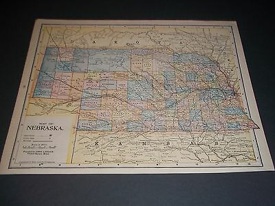1890 NEBRASKA Antique color state map original authentic