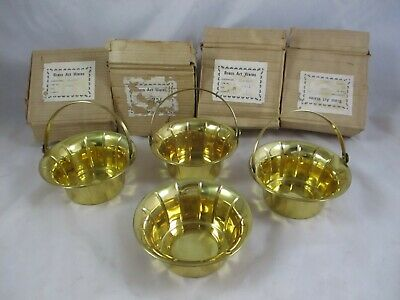 """NOS Lot Of 4 Vintage Brass Baskets  6"""" x 3"""" Hinged Handle On 3"""