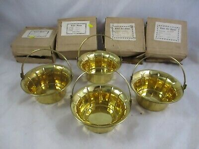 """NOS Lot Of 4 Vintage Brass Baskets  6"""" x 3"""" Hinged Handle On All Set #1"""