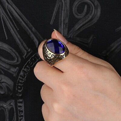 Mens Charms Gold Tone Stainless Steel Blue Sapphire Crystal Celtic Thumb Rings