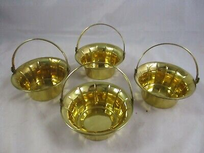 """NOS Lot Of 4 Vintage Brass Baskets  6"""" x 3"""" Hinged Handle On All Set #2"""