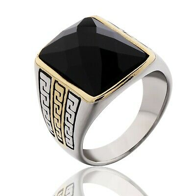 Mens Baguette Black Onyx Crystal Gold&Silver Stainless Steel Celtic Thumb Rings
