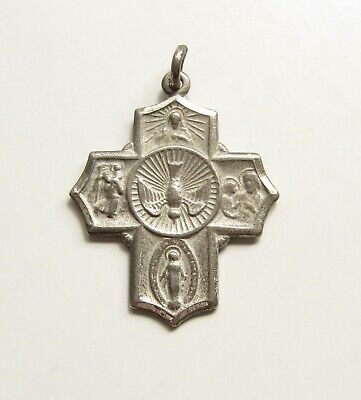 Sterling Silver St Christopher St Joseph 4 Four Way Cross Medal I Am Catholic