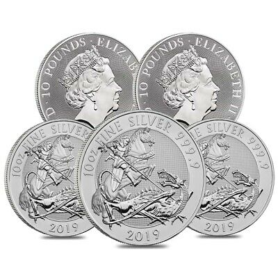 Lot of 5 - 2019 Great Britain 10 oz Silver Valiant Coin In Cap .9999 Fine BU