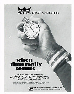 1970s Original Vintage 1978 Smiths Astral Stop Watch Paper Print Ad