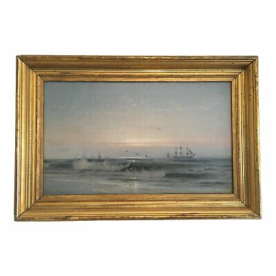 Late 19th Century Antique Brinton S. Young Marine ship oil Painting, Seascape