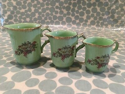 Set of 3 Vintage jugs by George Clews and co. Green with wild flower design