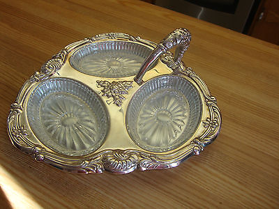 Viking Silverplated Relish Dish With 3-Section Glass Liner Made In Canada