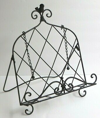 "Bird Accent Cook Book Rest Stand Easel Metal Wire Chain Page Holders 16"" x 12"""