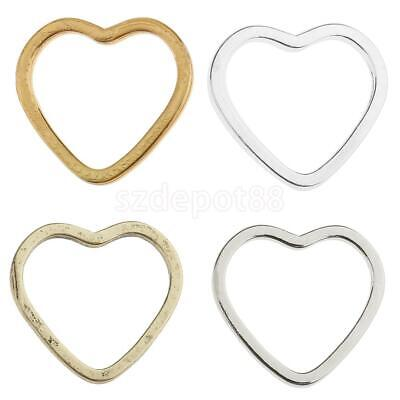 20pcs Metal Heart Shape Ring Pendants Charms Findings for Jewelry Making Crafts