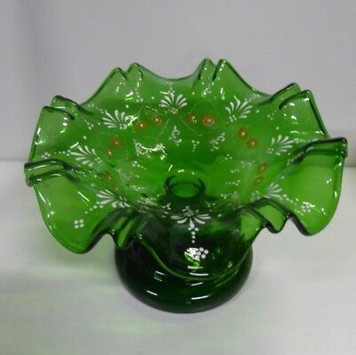 Antique Victorian Hand Painted Enamel Green Glass Comport Bowl Frilled Edge