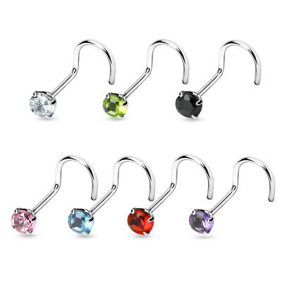 20GA .925 Sterling Silver Nose Screw Nose Ring Stud Piercing Jewelry 3mm CZ Gem