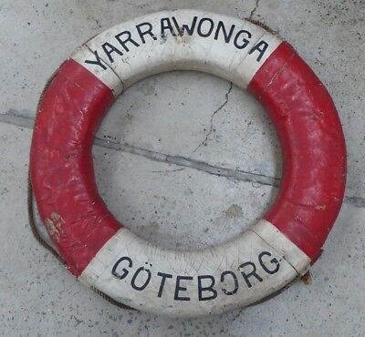 Antique Life Saving Ring Buoy Boat Ship Float Yarrawonga Goteborg
